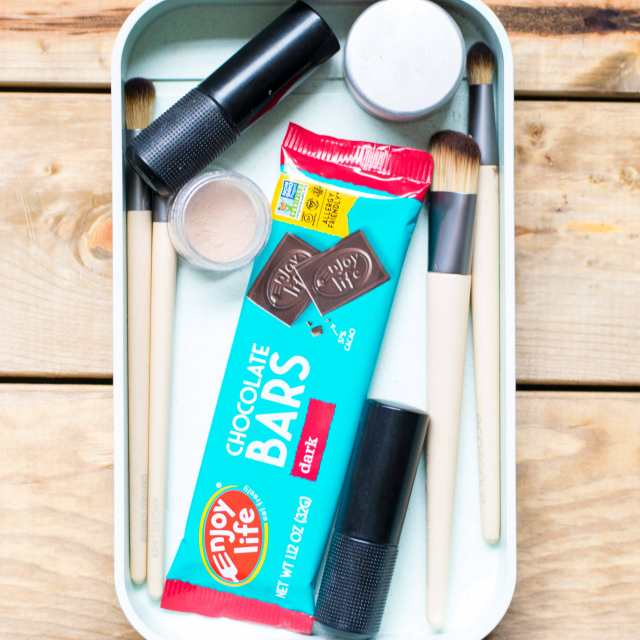 chocolate in make up bag