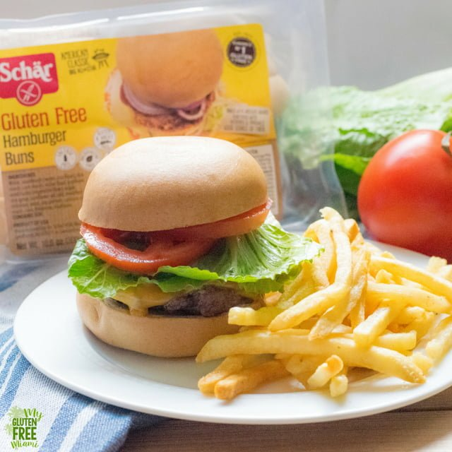 Schar Gluten Free Hamburger Buns with Cheese Burger