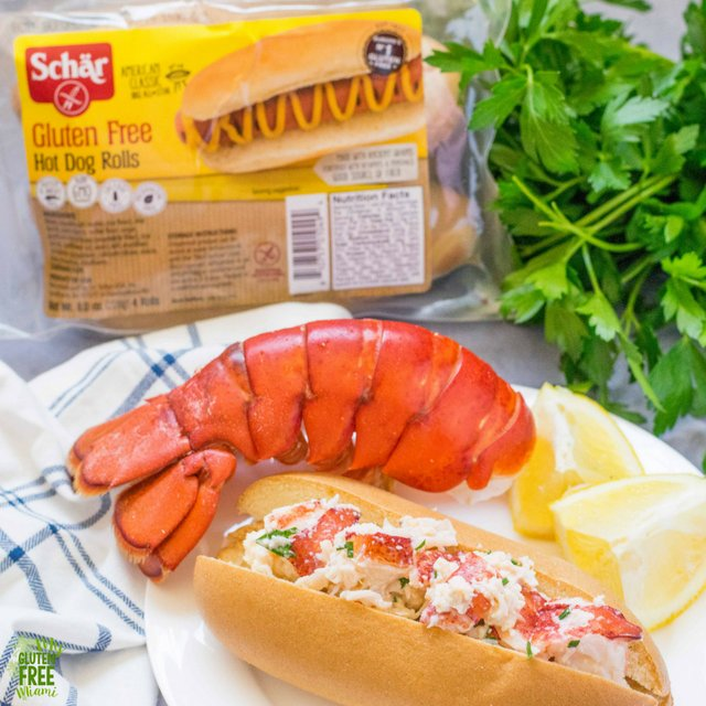 Gluten free lobster roll with Schar Hot Dog Buns