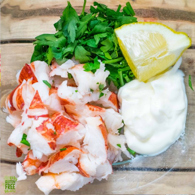 Lobster Roll Ingredients- lobster, herbs, mayo and lemon