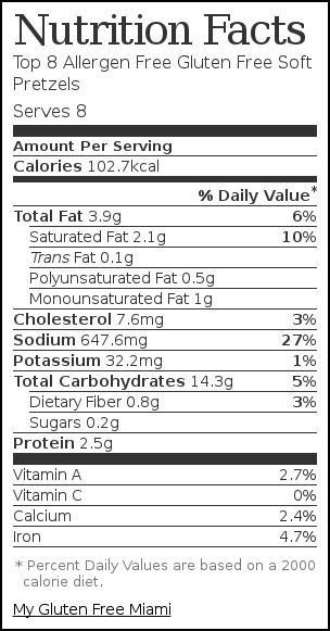 Nutrition label for Top 8 Allergen Free Gluten Free Soft Pretzels