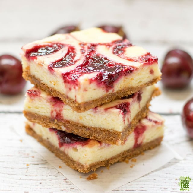 gluten free cherry cheesecake bars in a stack