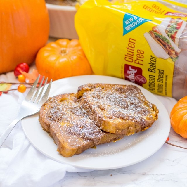 Gluten Free Pumpkin Spice French Toast Casserole with Schar bread