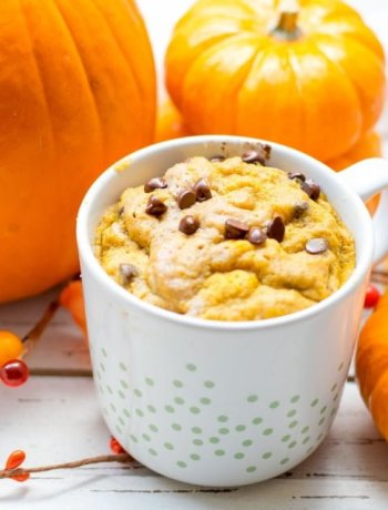 Gluten Free Pumpkin Spice Mug Cake with pumpkins and chocolate chips