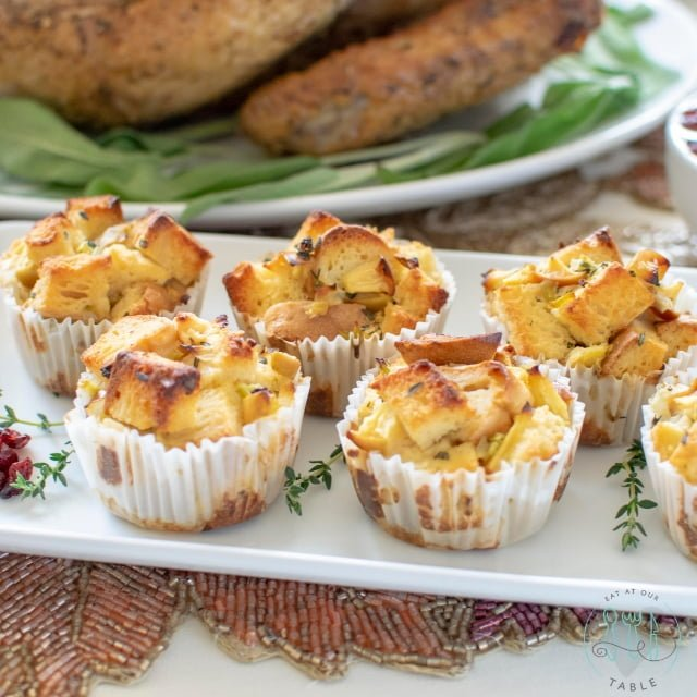 gluten free stuffing cups on tray