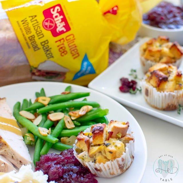 gluten free stuffing cups with Schar gluten free bread