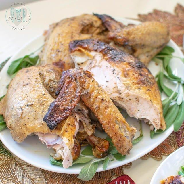 carved gluten free brined turkey