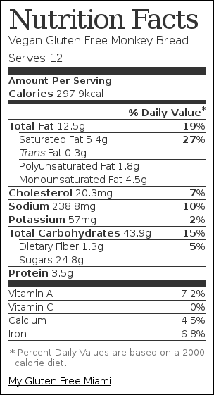 Nutrition label for Vegan Gluten Free Monkey Bread