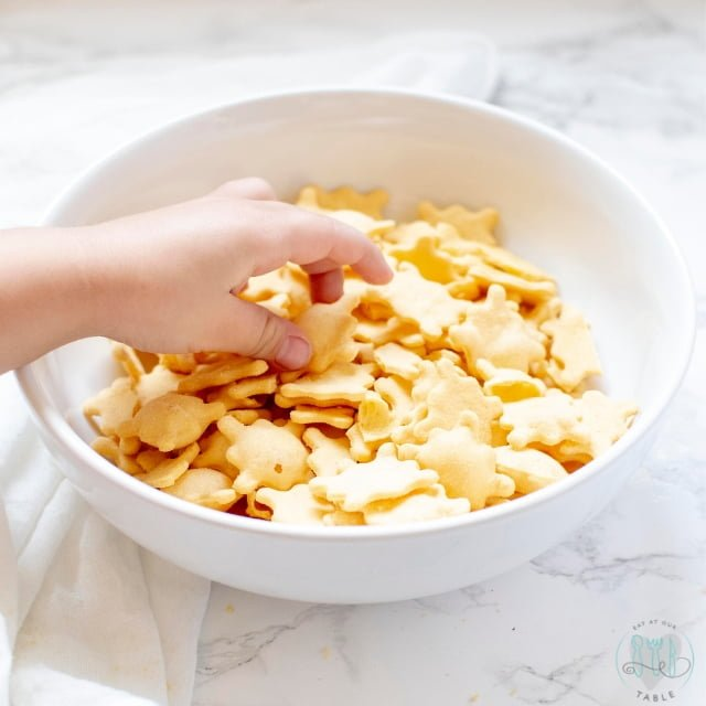 Bowl of three bakers snackers