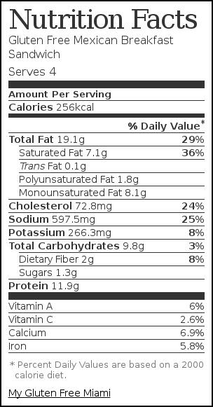 Nutrition label for Gluten Free Mexican Breakfast Sandwich