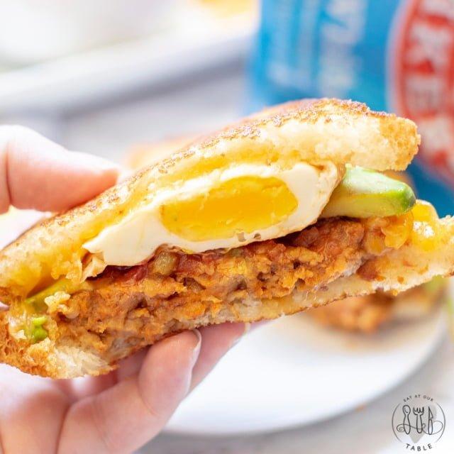 Inside of gluten free mexican breakfast sandwich