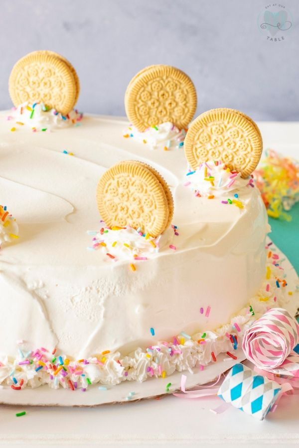 whole gluten free birthday ice cream cake with sprinkles and whole birthday cake cookies
