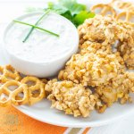 gluten free pretzel crusted chicken nuggets with dipping sauce