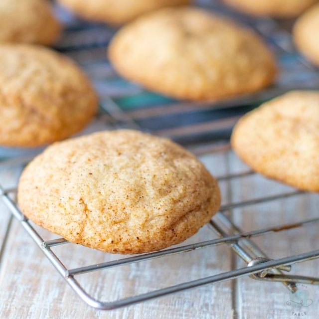 Gluten Free apple spice snickerdoodles on a cooling rack