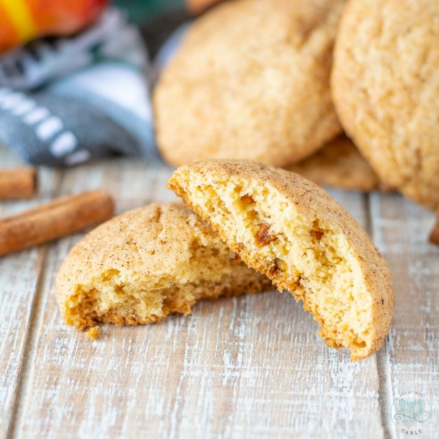 gluten free apple spice snickerdoodle broken in half
