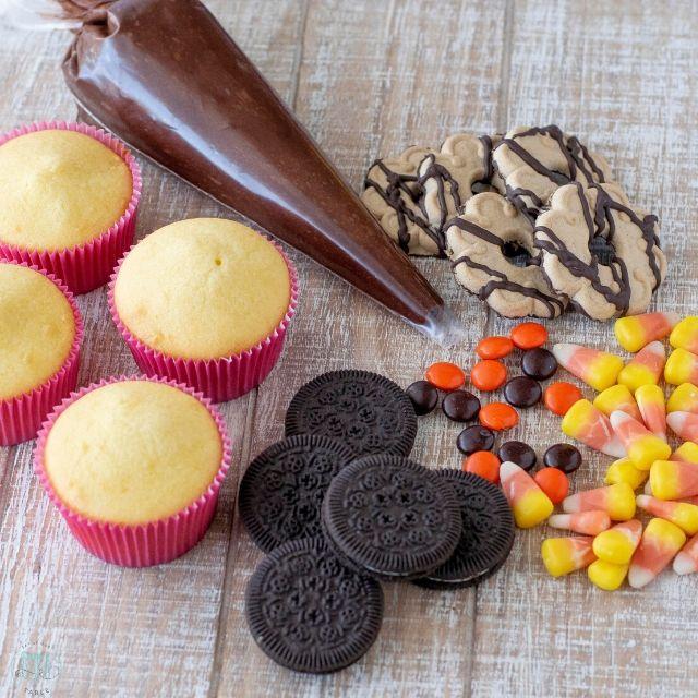 Ingredients for making turkey cupcakes