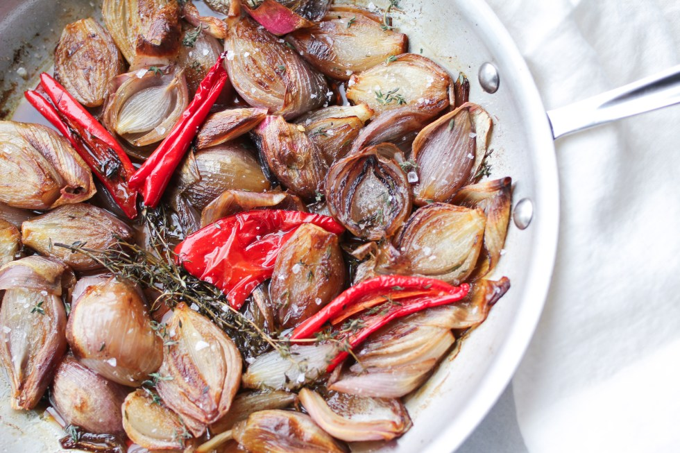Glazed Shallots with chiles and thyme