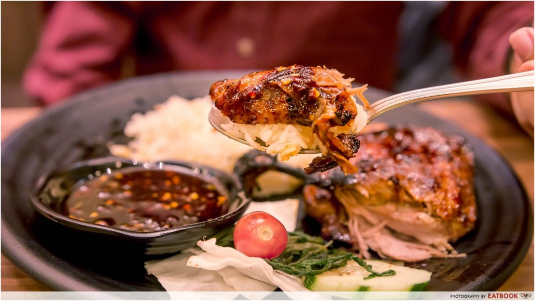 Bebek Goreng Pak Ndut - Grilled Duck Rice dipping