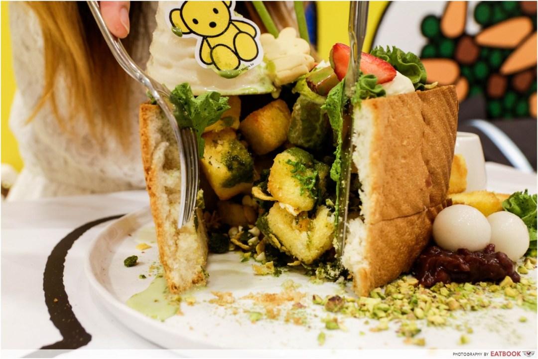 Miffy cafe - matcha shibuya toast close up