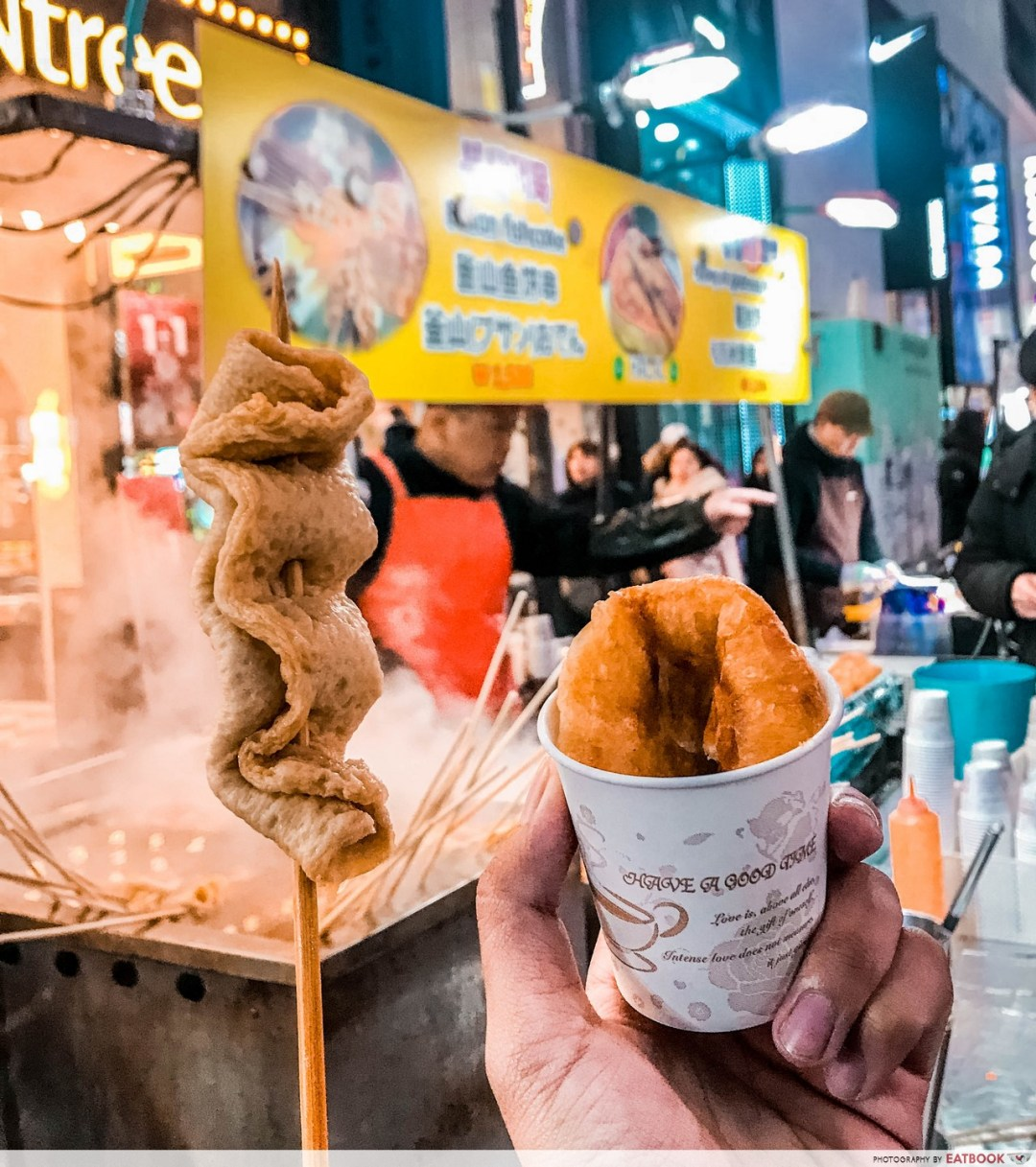 Halal Food places In Seoul - Fishcake and Sweet pancake stall
