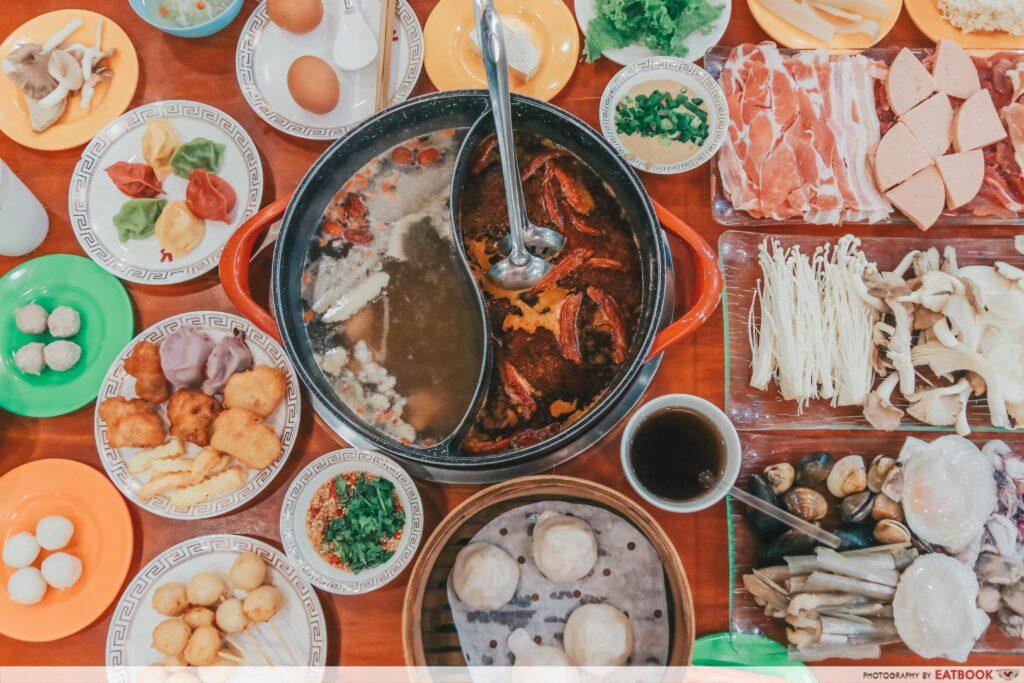 yi qian ling yi ye steamboat buffet - flatlay