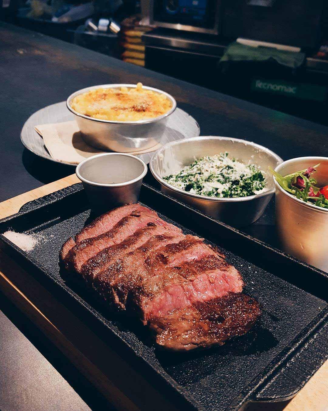 london dishes fat belly flat iron steak