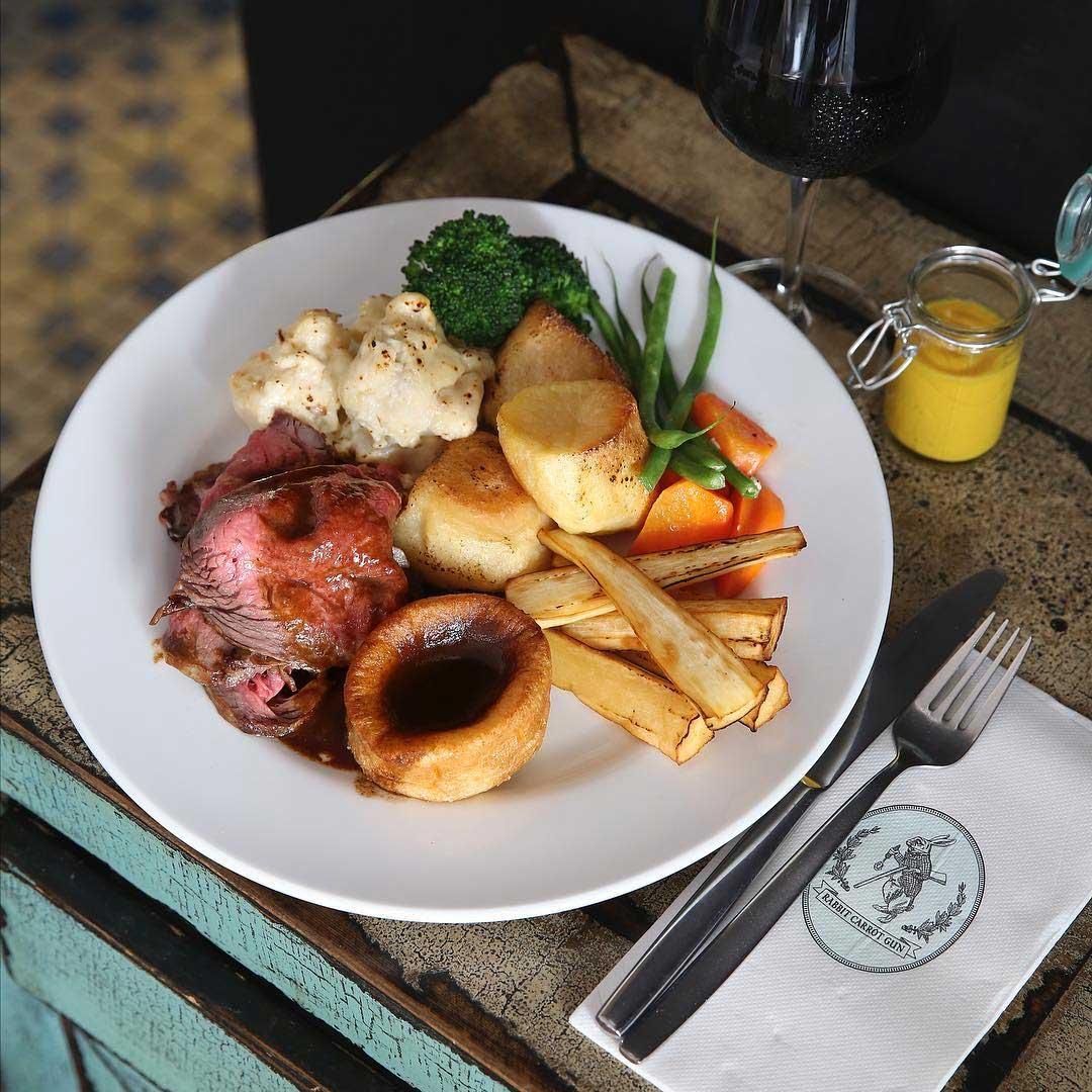 london dishes rabbit carrot gun sunday roast