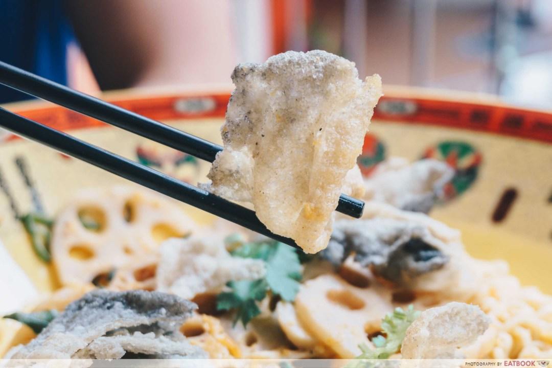 salted egg yolk xiang guo fish skin