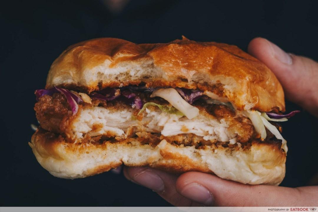Hammee's fried chicken burger cut