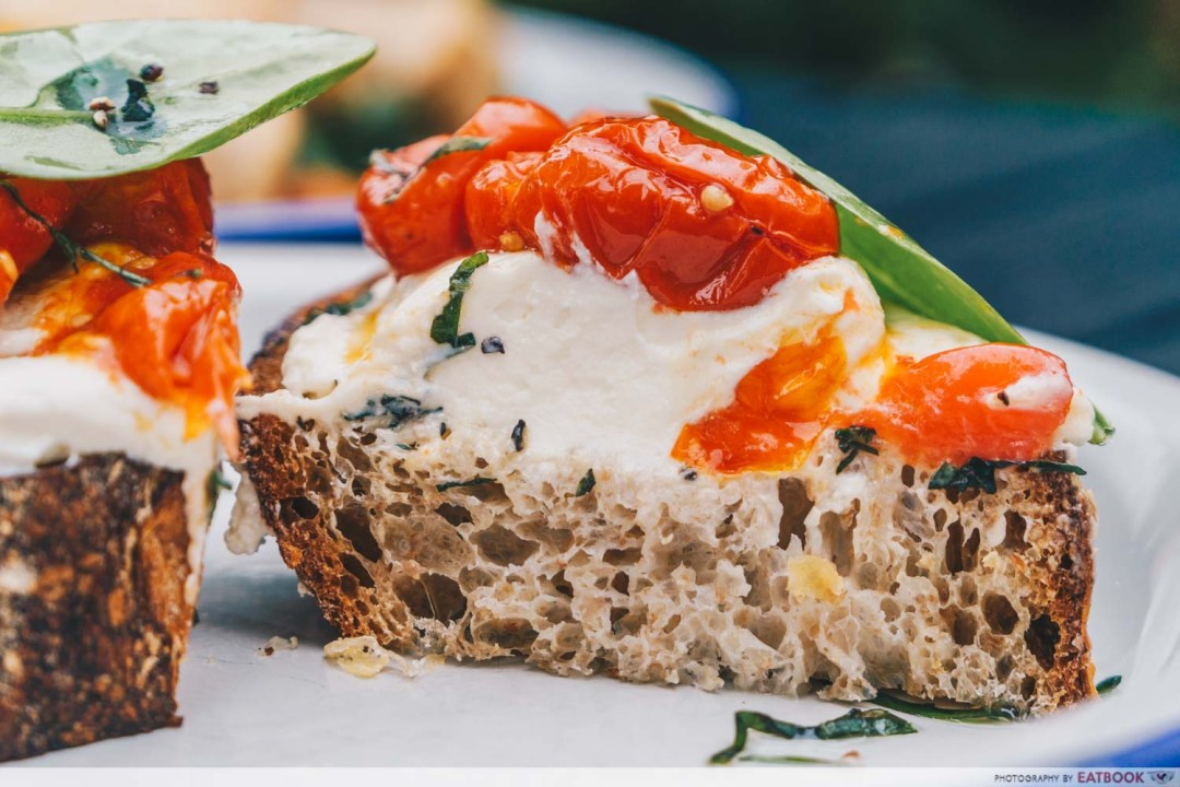 Micro Bakery and Kitchen house ricotta tartine half