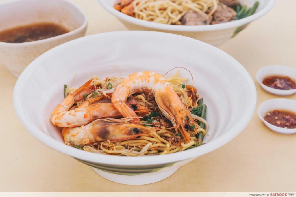 Prawn & Mee prawn noodle soup wide shot