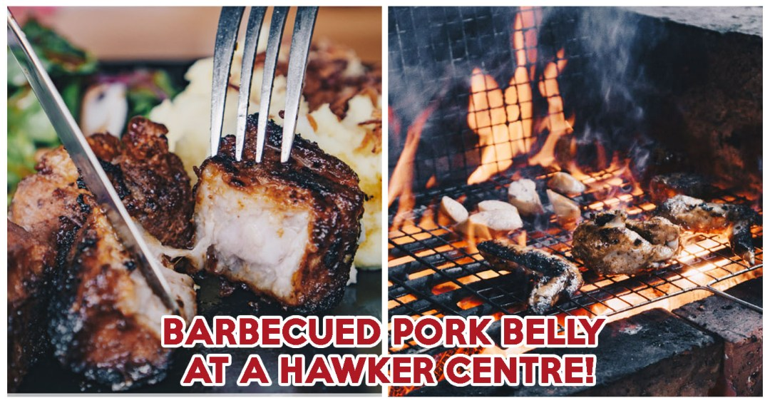 Nsquared Barbecue - cover image Barbecued pork belly at a hawker centre