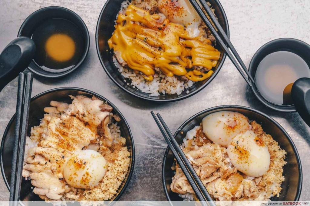 flatlay of Ishiro rice bowls
