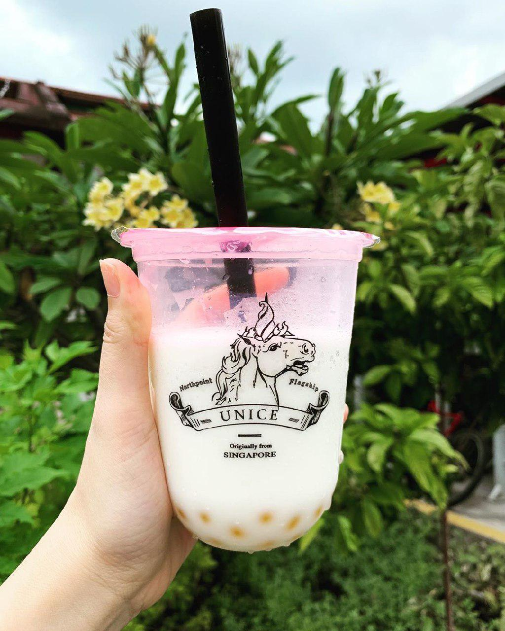 White Drink with Yellow Pearls