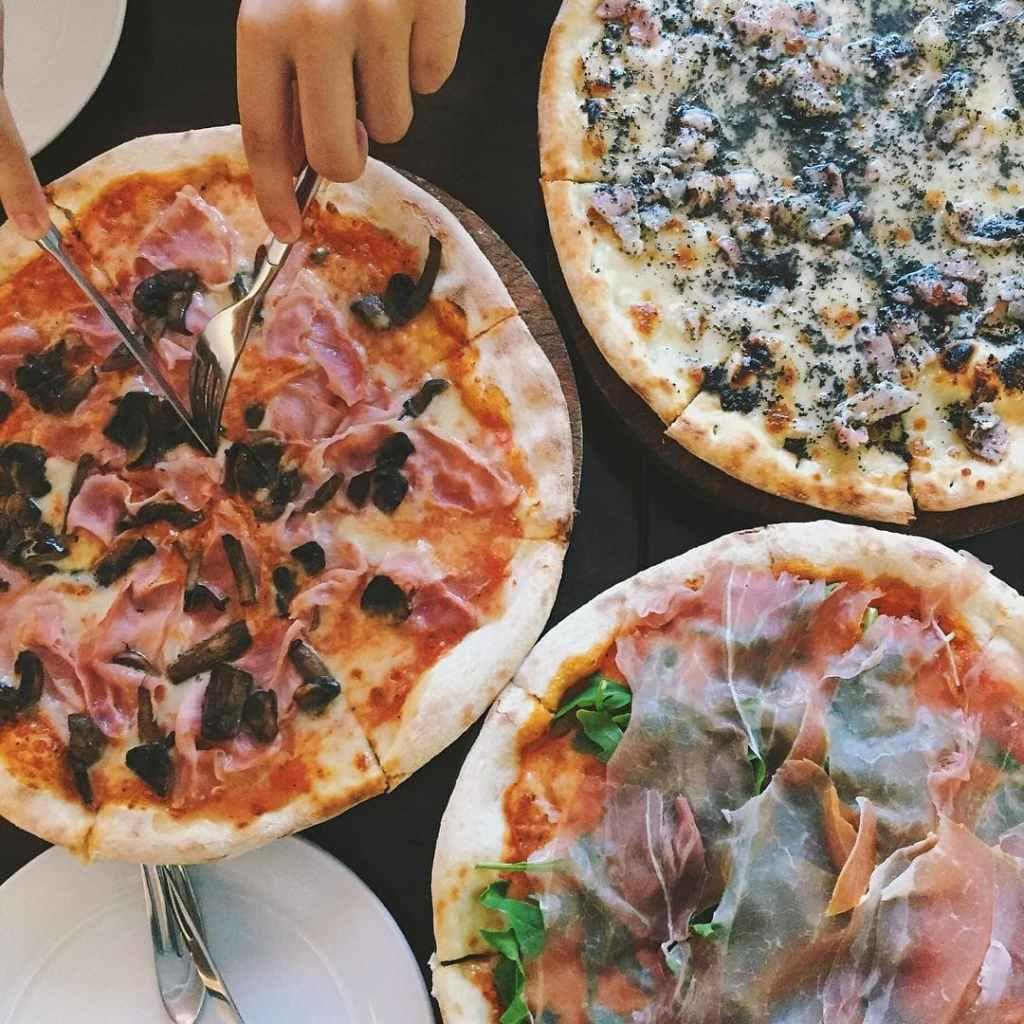Flatlay of pizza