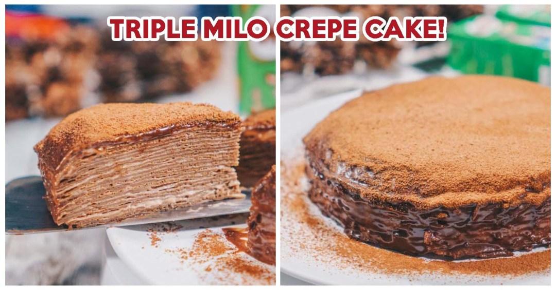 Triple milo crepe cake