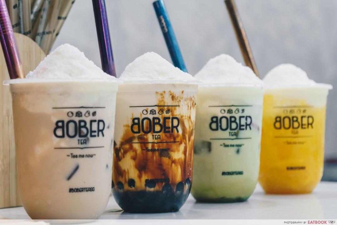 A row of bubble tea