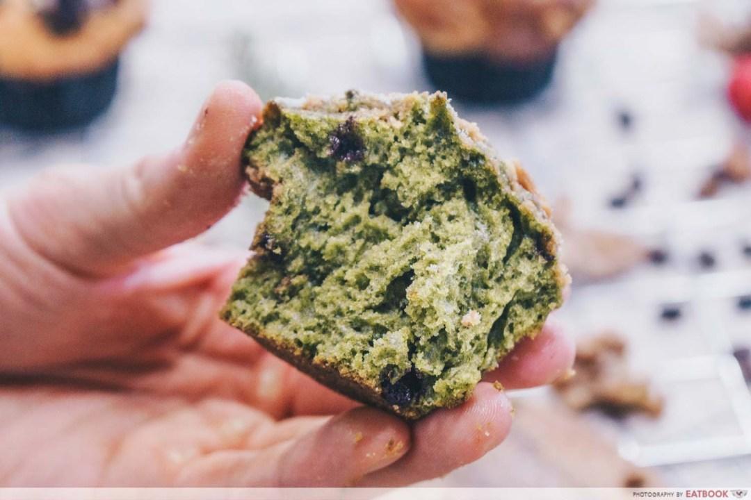 AJ Delights - Cross section of Green Tea Monster muffin