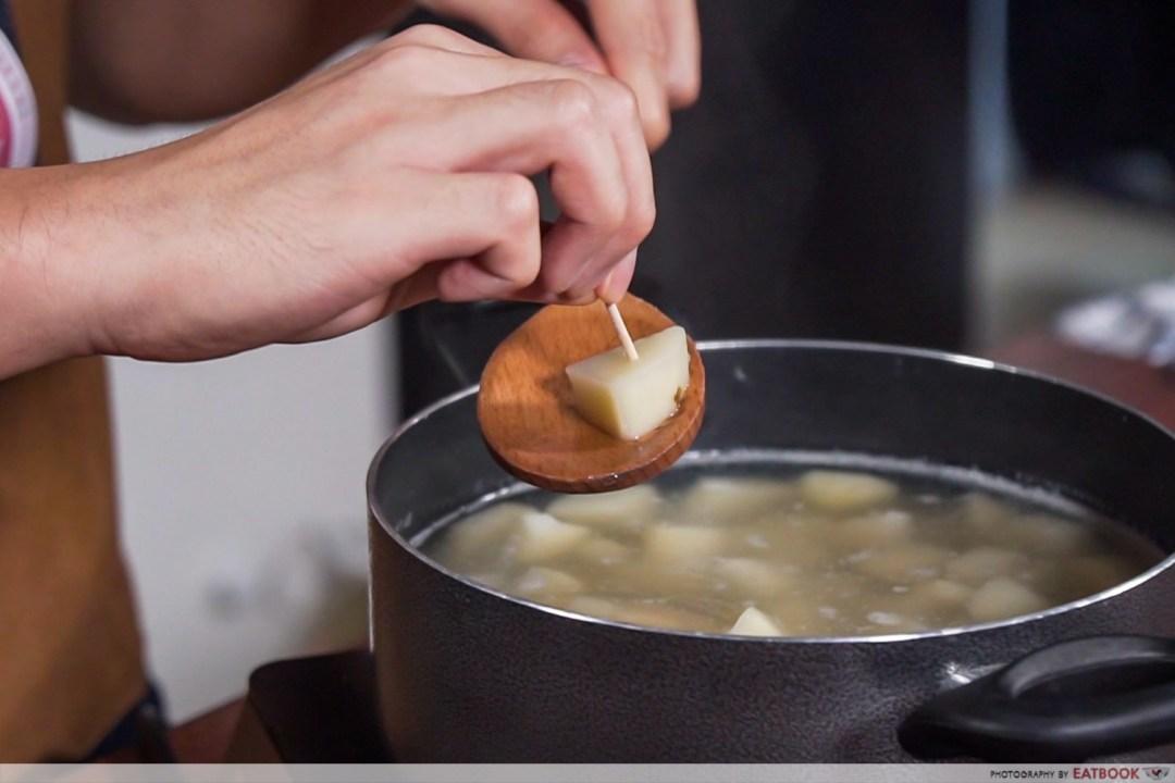 Gotcha Pork Roast - Stick toothpick into potato
