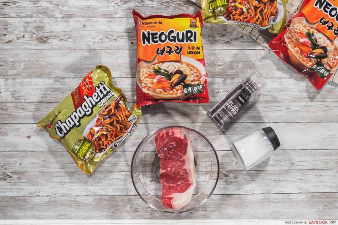 Instant Noodles Recipes - Steak Ram-don Flatlay