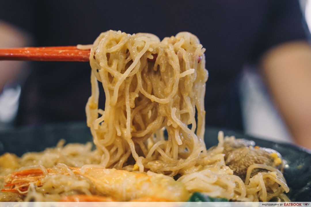 Try Fresh XO Seafood Noodles - Bee hoon noodle pull salted egg