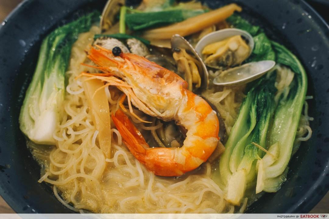 Try Fresh XO Seafood Noodles - Prawn close-up XO