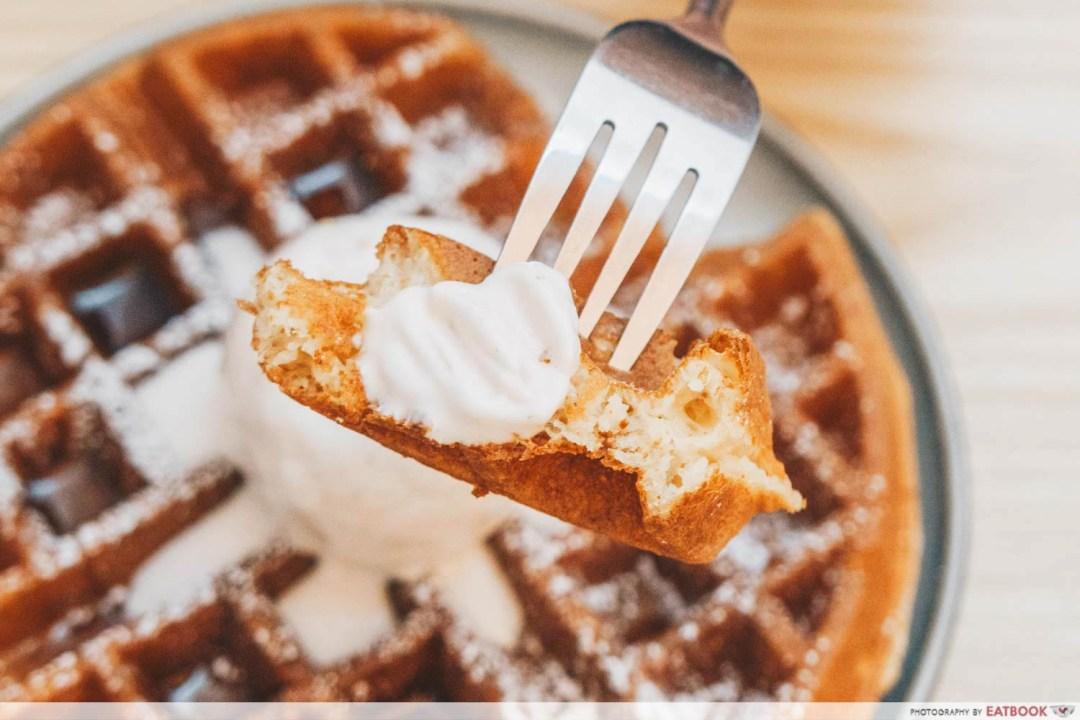 Bloom Artisan - waffle chunk with strawberry milk gelato