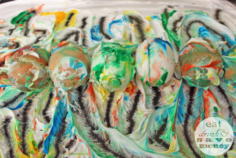 Easter eggs dyed with shaving cream and food coloring