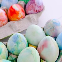 Shaving cream dyed Easter eggs