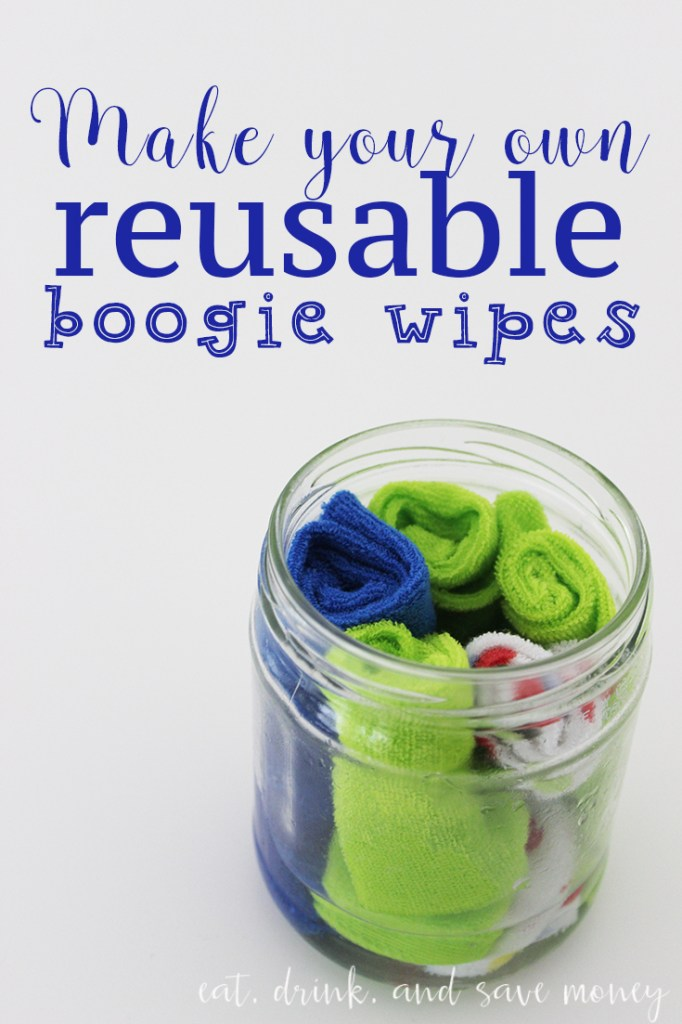 Make your own reusable boogies wipes. This is much cheaper and better than the boogies wipes you buy in the store. These are perfect when the kids (and adults) are sick