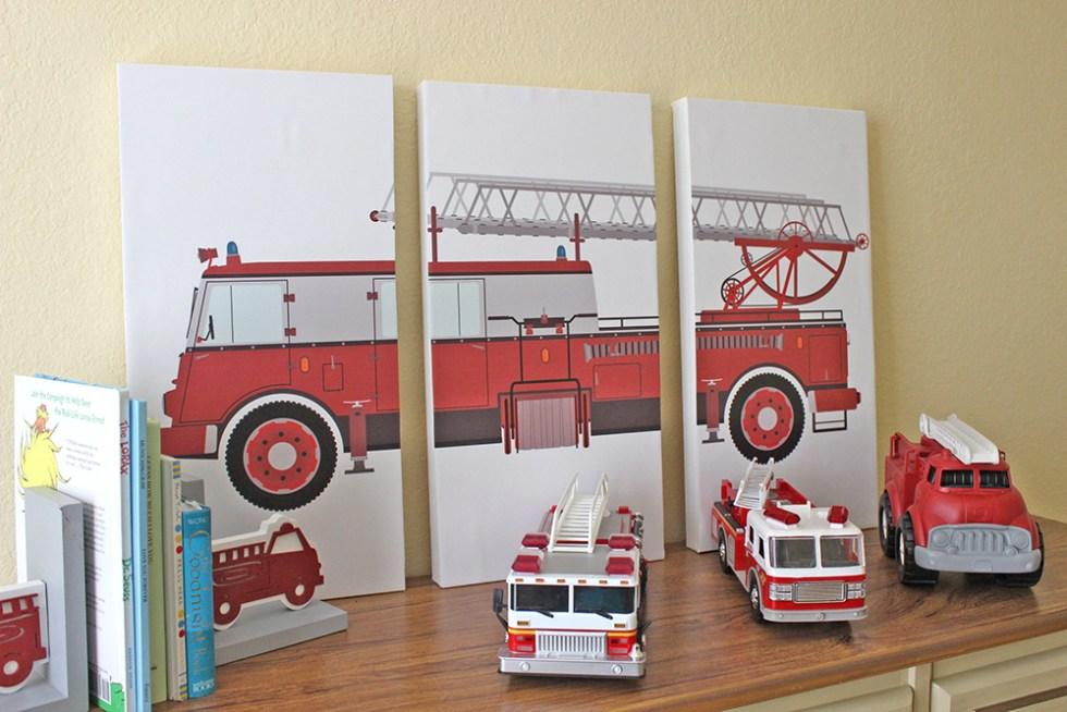 DIY triptych firetruck artwork