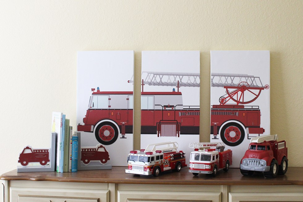 Easy tutorial to make your own DIY triptych artwork. Little boys will love this DIY firetruck artwork make into a triptych
