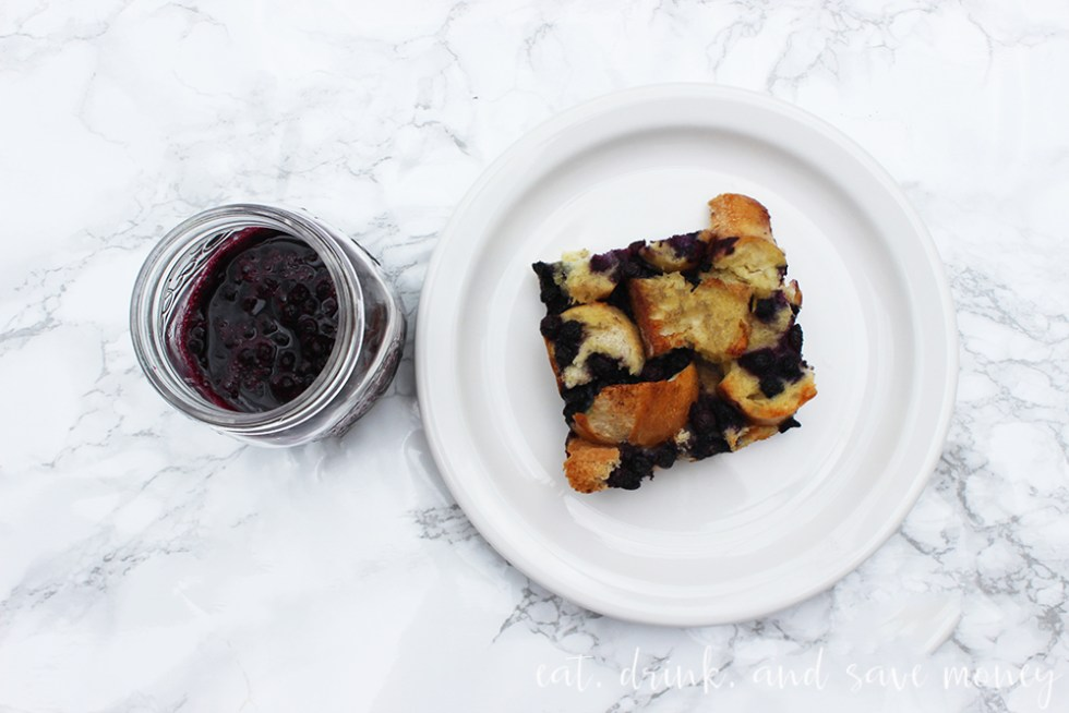 Blueberry french toast casserole with blueberry sauce