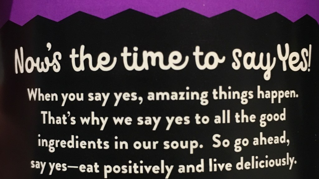 Food copywriting for Say Yes! soup